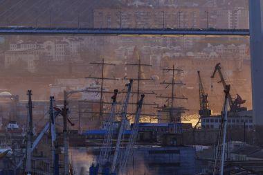 Vladivostok, Russia, 2017: Merchant and warships on the roadstead in the Golden Horn Bay in Vladivostok. Seaport Vladivostok