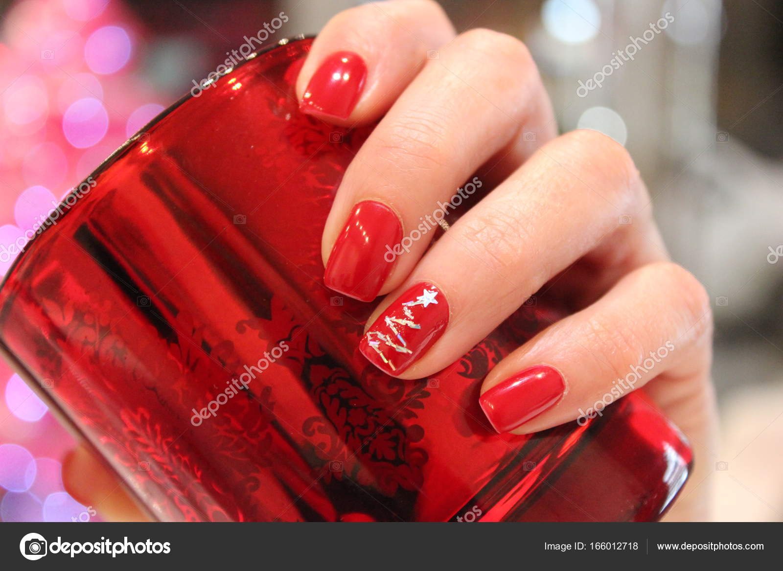 Red Christmas Tree Nails Stock Photo C Patwind 166012718