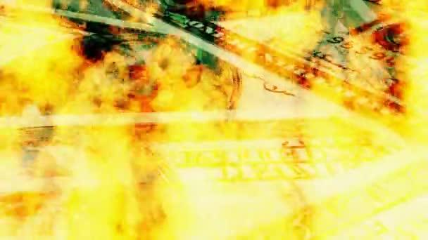 hořící dolarové bankovky