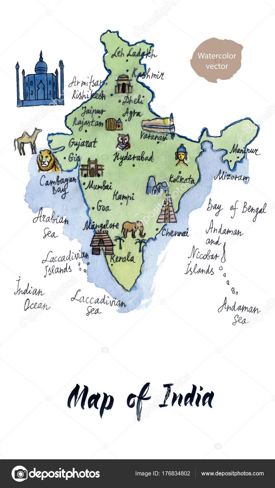 Karta Over Sevardheter I Indien Akvarell Handritade Vektor