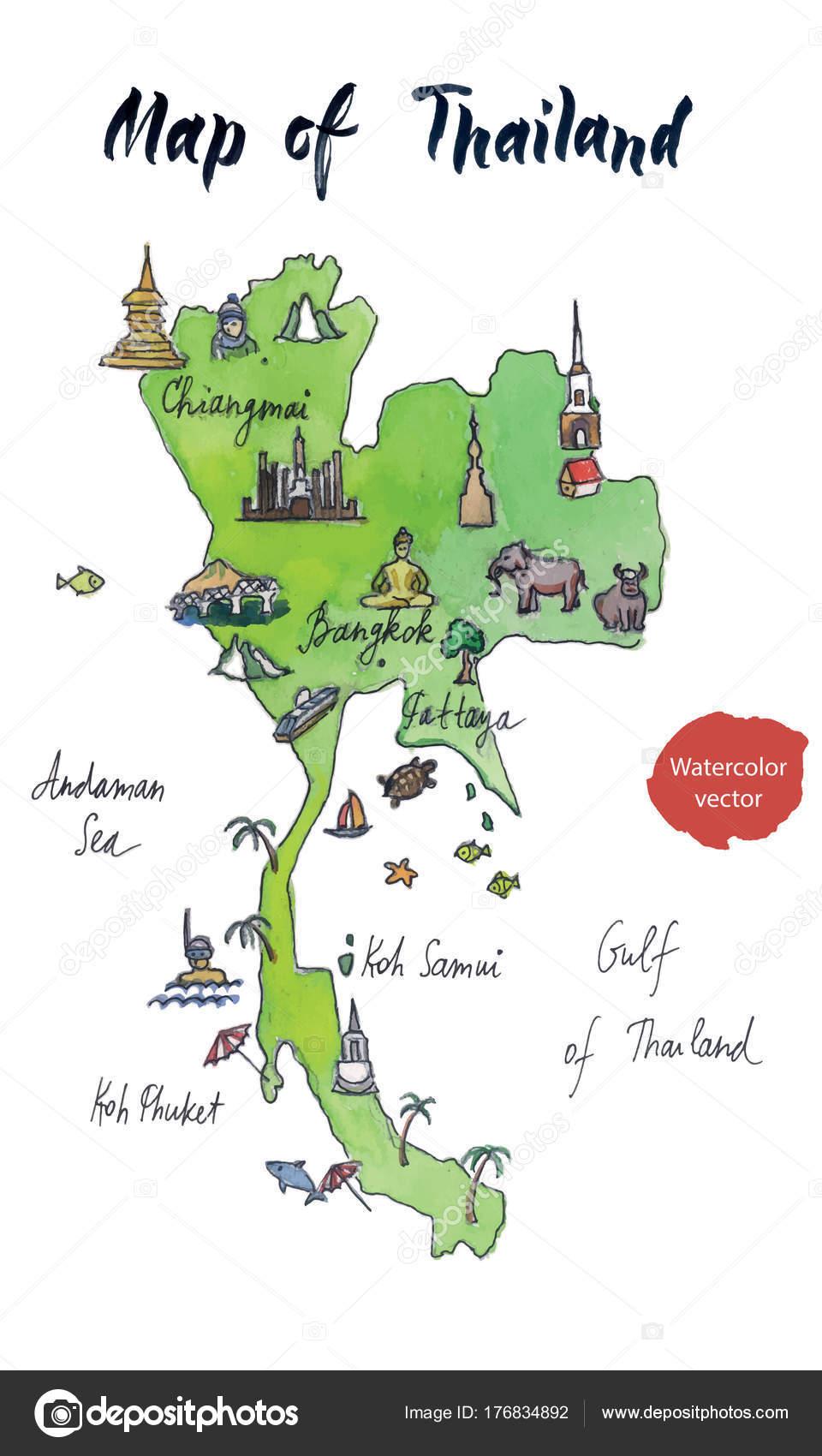 Thailand Karte.Karte Der Sehenswürdigkeiten Von Thailand Aquarell Von Hand