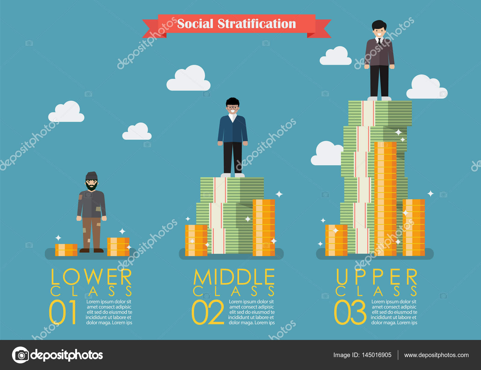 social stratification with money infographic stock vector