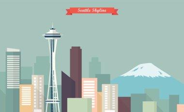 Seattle skyline vector illustration
