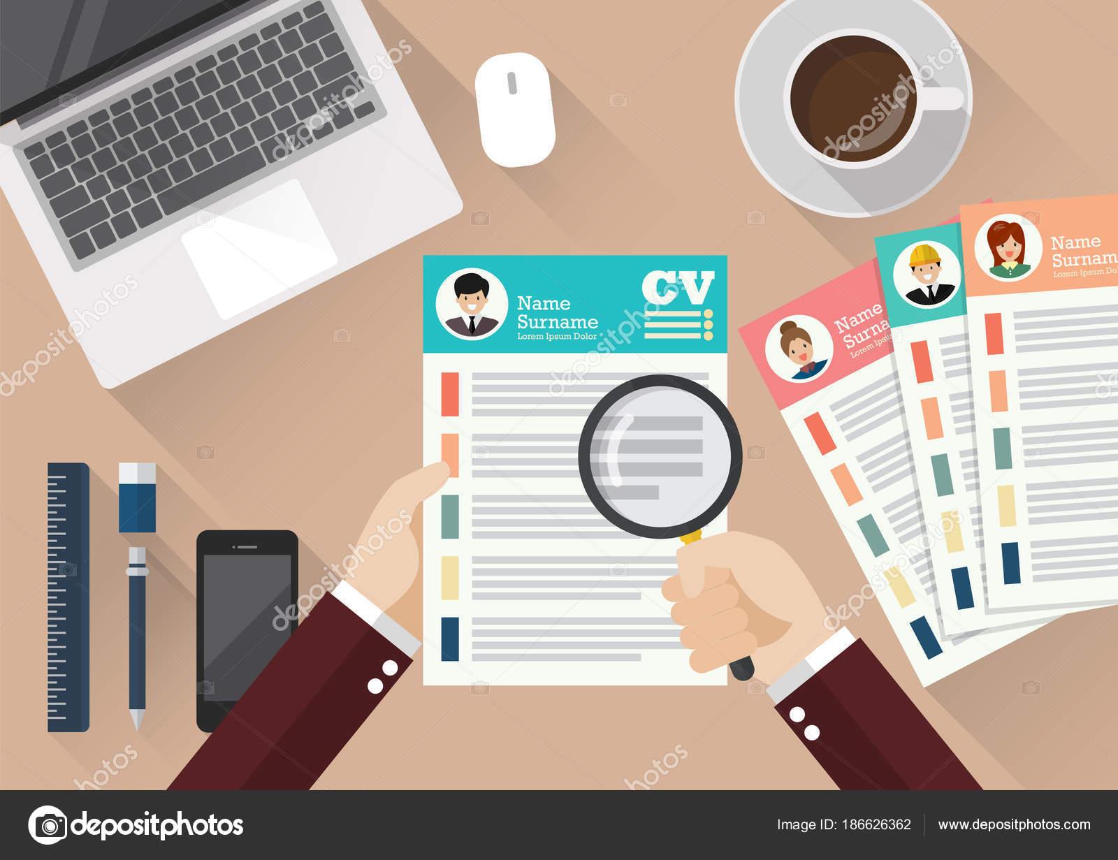 Mano escribir Curriculum Vitae hoja de papel de aplicación — Vector ...