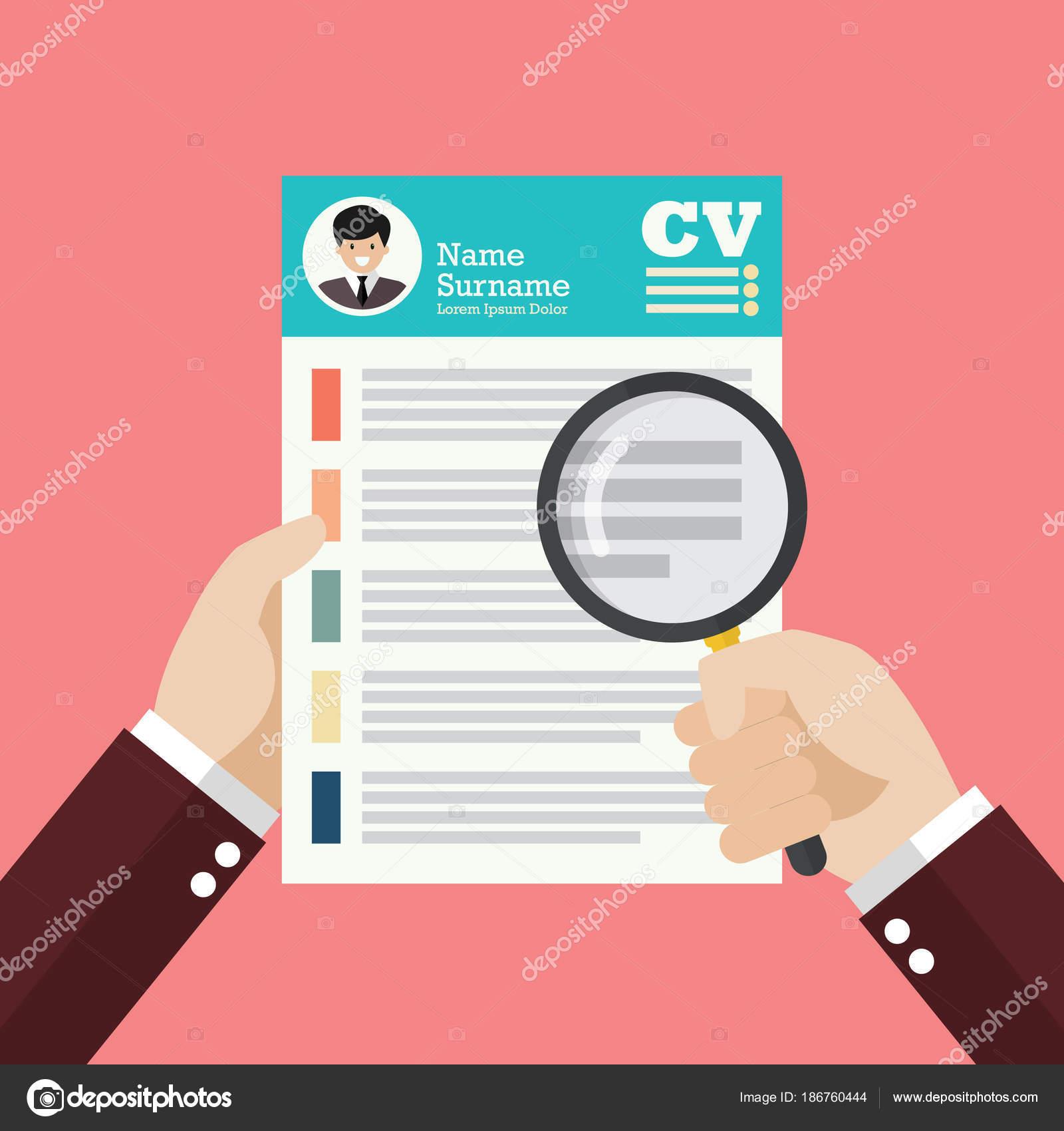 Lupa mano sobre Curriculum Vitae — Vector de stock © siraanamwong ...
