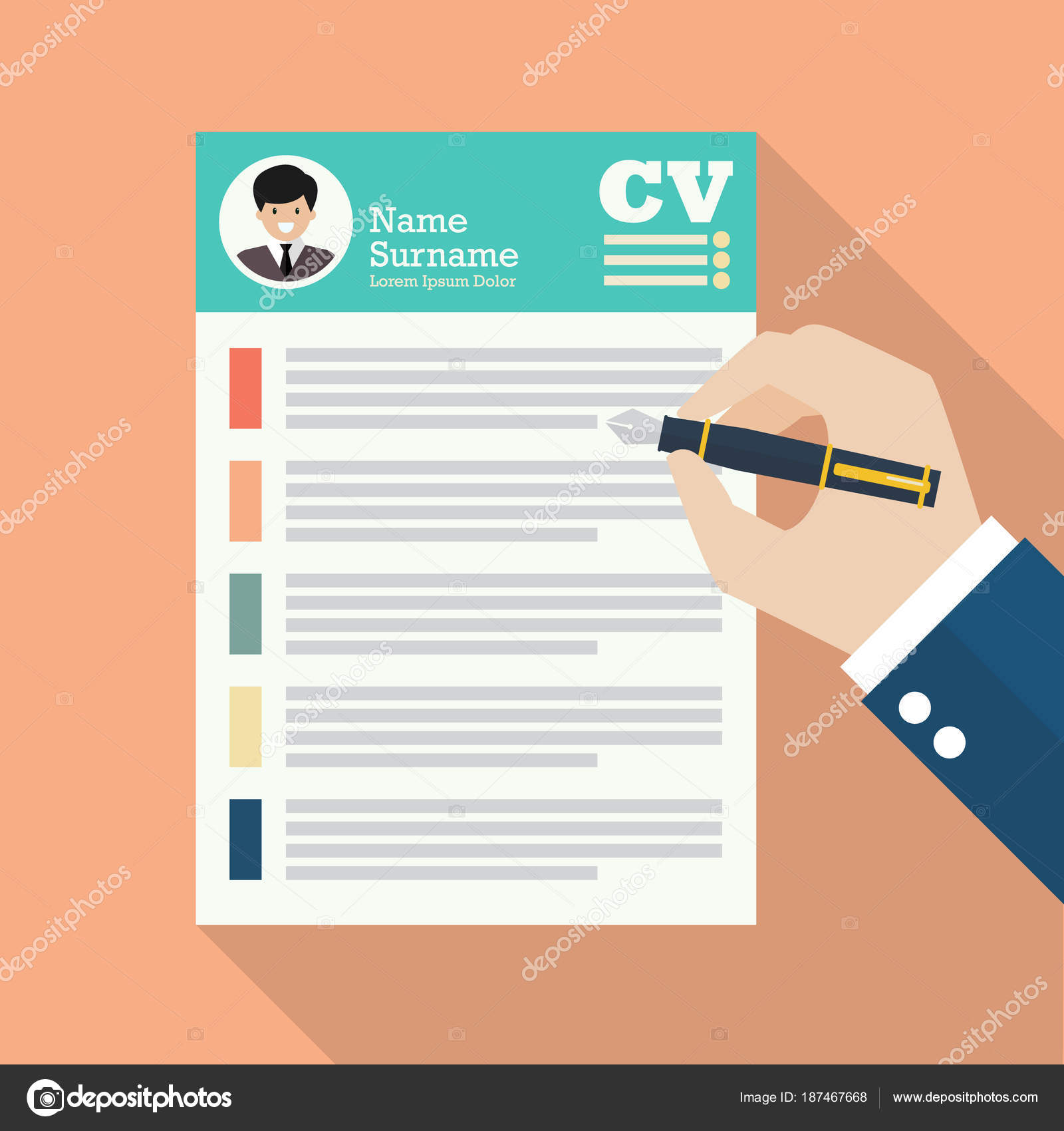 Mano escribir Curriculum Vitae hoja de papel de aplicación — Archivo ...