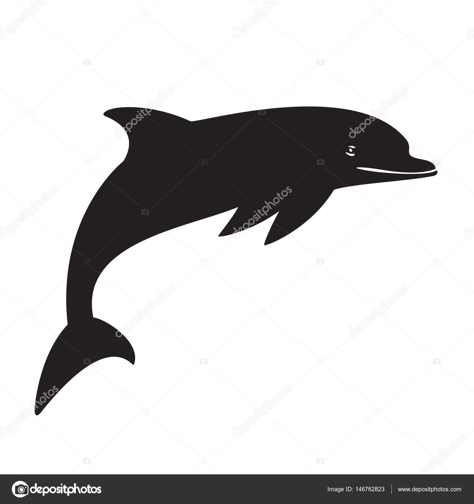 golfinho de silhueta no preto fundo branco vetores de stock