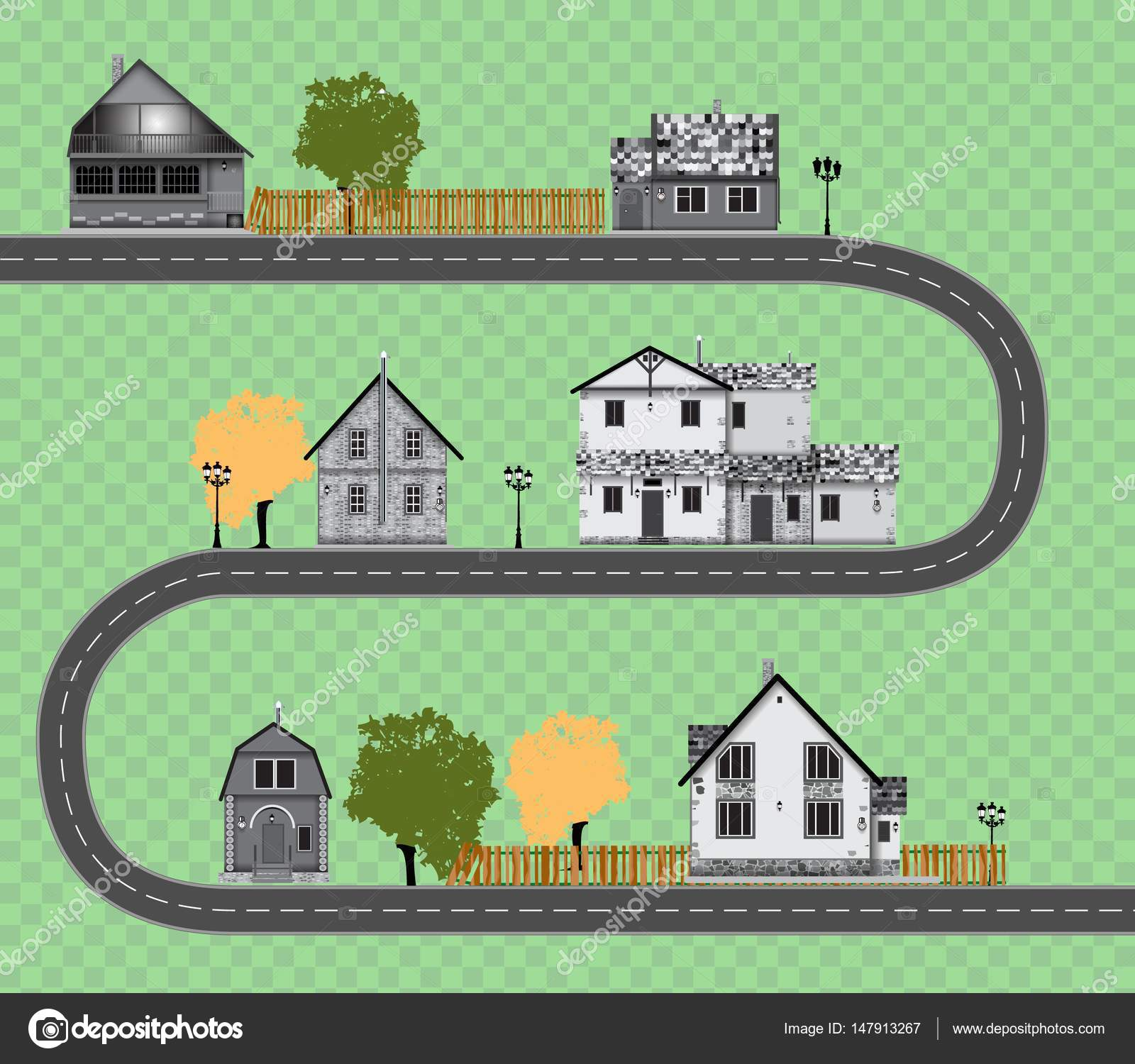 assorted cute houses collection on transparent background road