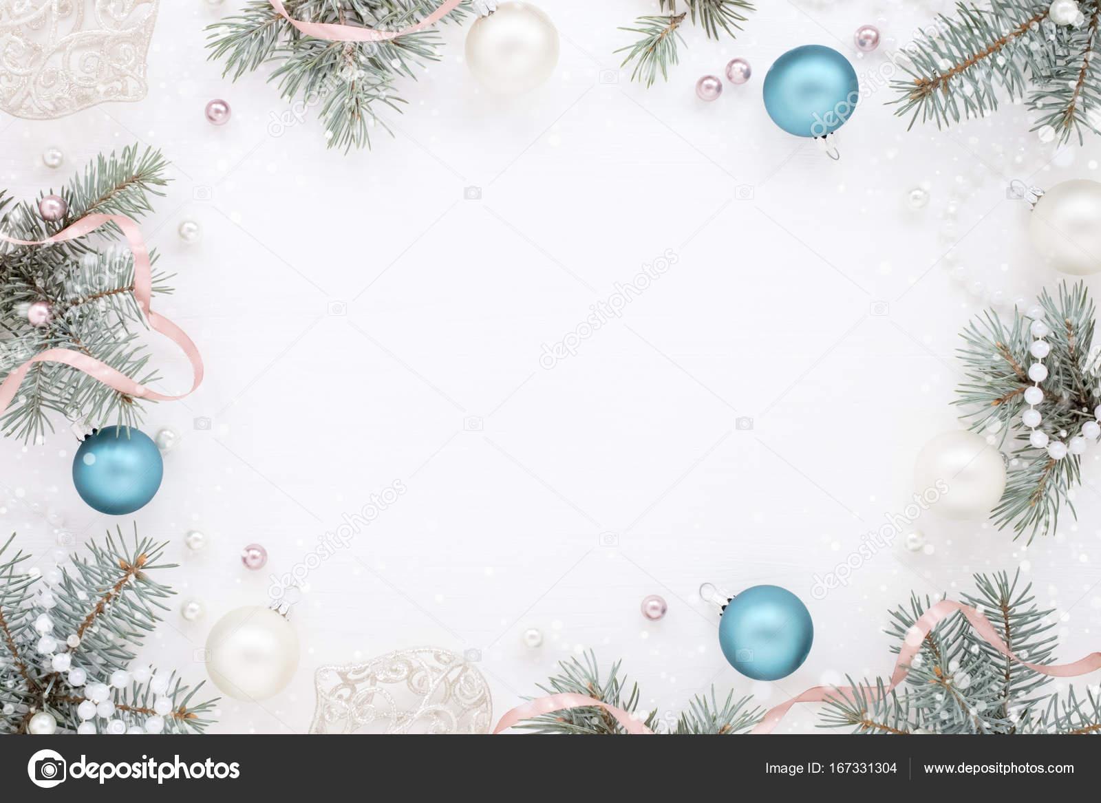 Marco con decoración de año nuevo y abeto, frescura helada — Fotos ...