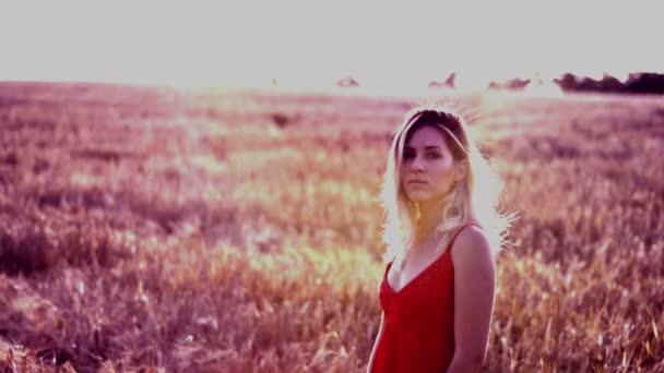 Krásná blondýnka v červených šatech, na obilné pole při západu slunce
