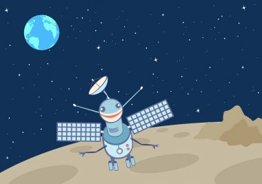Artificial satellite-droid on the moon.