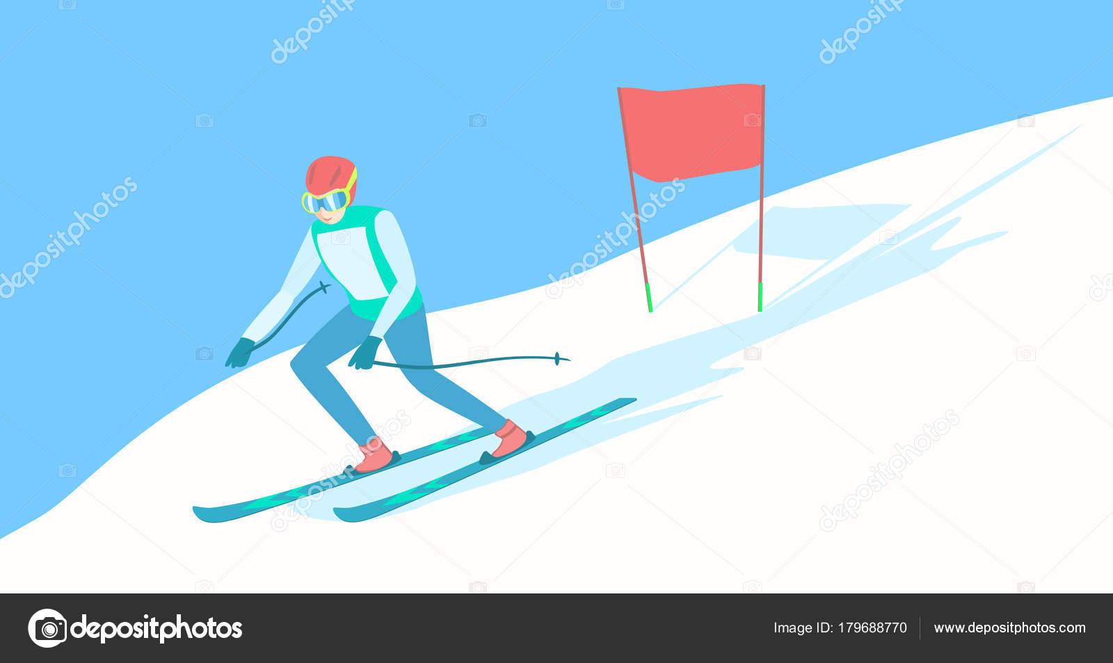 알파인 스키 스키 트랙에 스톡 벡터 C Awlend 179688770