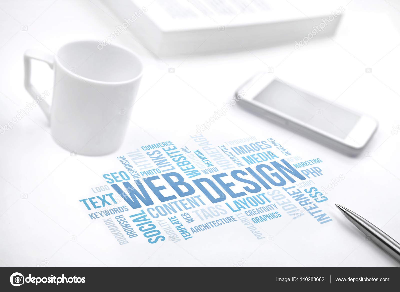 Web Design Negócios Conceito Nuvem Imprimir Documento Do Word