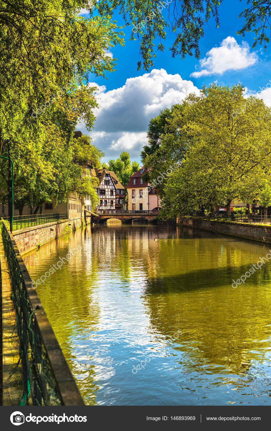 Strasbourg Water Canal In Petite France Area Unesco Site Alsa