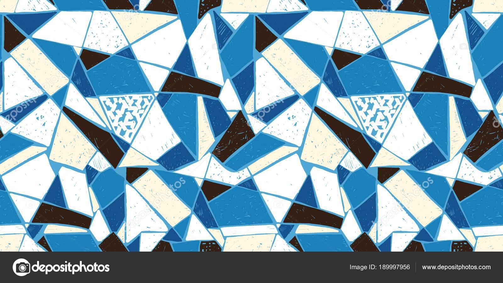 Reticolo di mosaico di mattonelle rotte. reticolo disegnato a mano