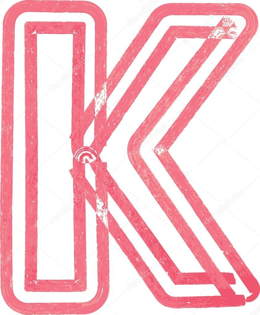 Litera K Rysunek Z Czerwonym Markerem Grafika Wektorowa Aroas