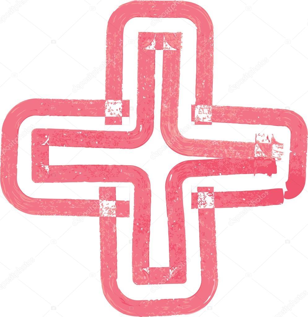 Resumen Cruz símbolo hecho con marcador rojo — Vector de stock ...