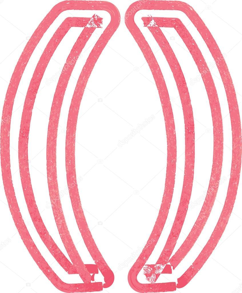 Paréntesis Resumen símbolo hecho con marcador rojo — Vector de stock ...