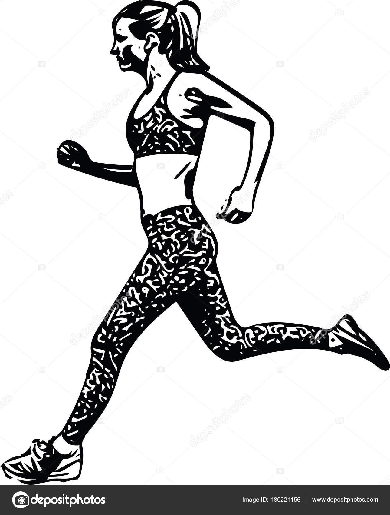Dessiner Une Silhouette De Femme dessin de silhouette de femme running — image vectorielle aroas