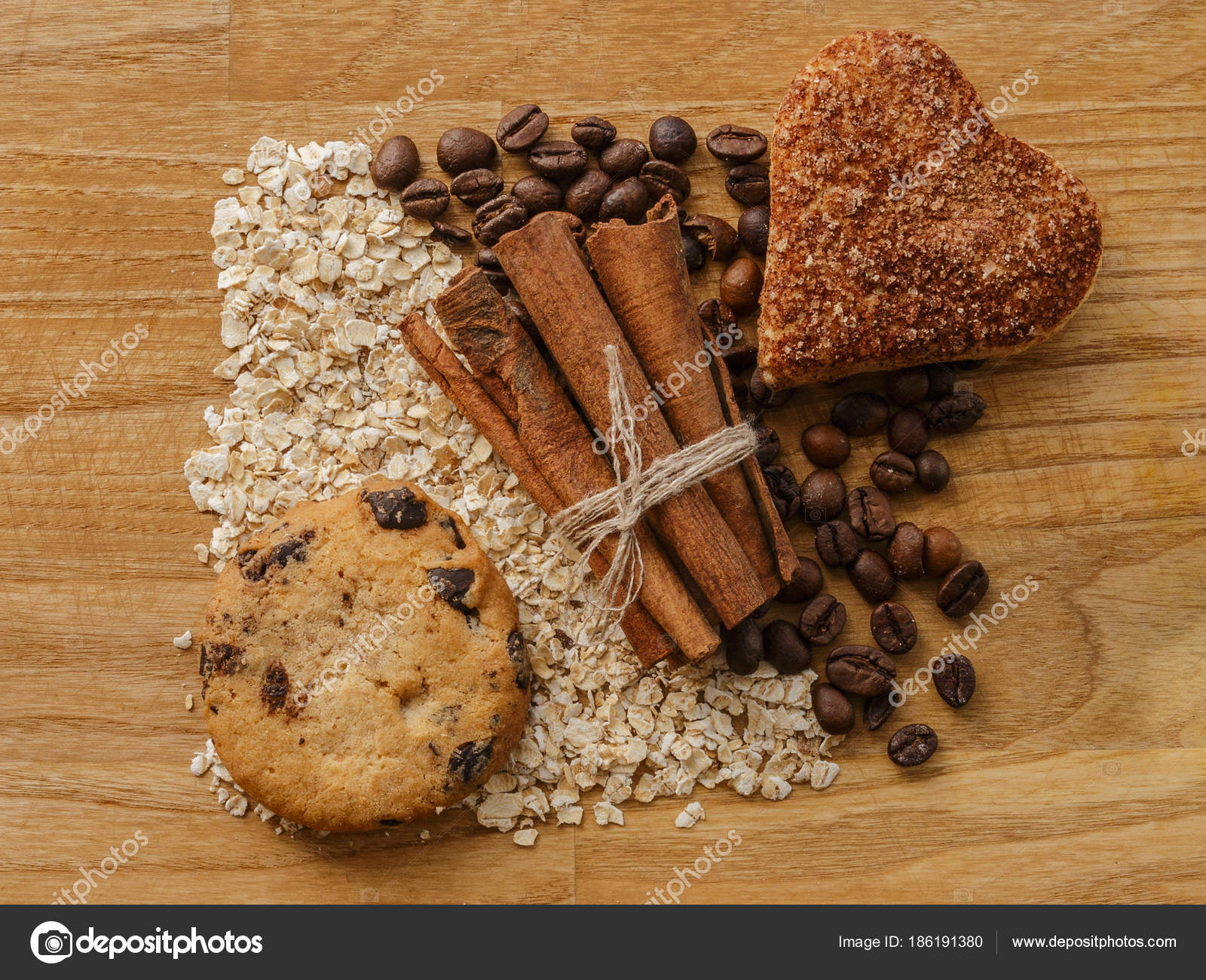 Oatmeal And Coffee Beans And Cinnamon Sticks And Cinnamon Cookie