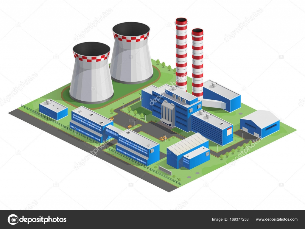 Illustration Of Isometry Heat Power Station Nuclear Plant Hydroelectric Diagram Vector Cooling Tower Hydro Factory Infographic Website Icon 3d Energy Production Pipe Steam
