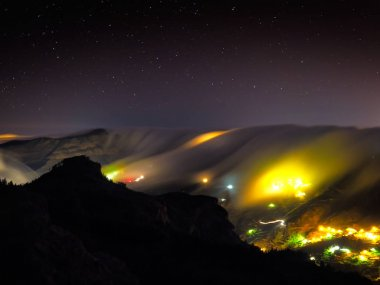 view of Artenara village by night