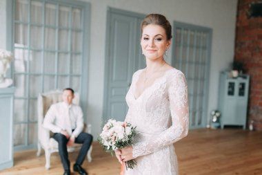 Wedding in the European style in the studio and on the stree