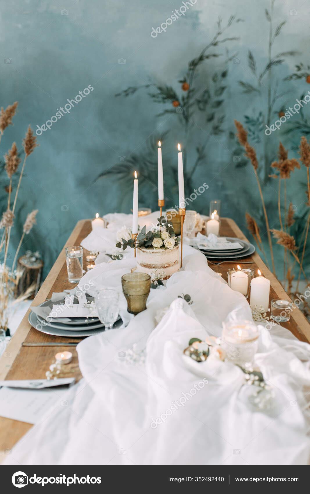 Autumn Decor Fabric Dried Flowers Wedding Style Fine Art Wedding Stock Photo C Pavelvozmischev 352492440