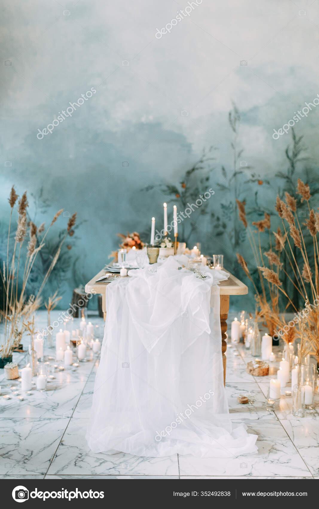 Autumn Decor Fabric Dried Flowers Wedding Style Fine Art Wedding Stock Photo C Pavelvozmischev 352492838