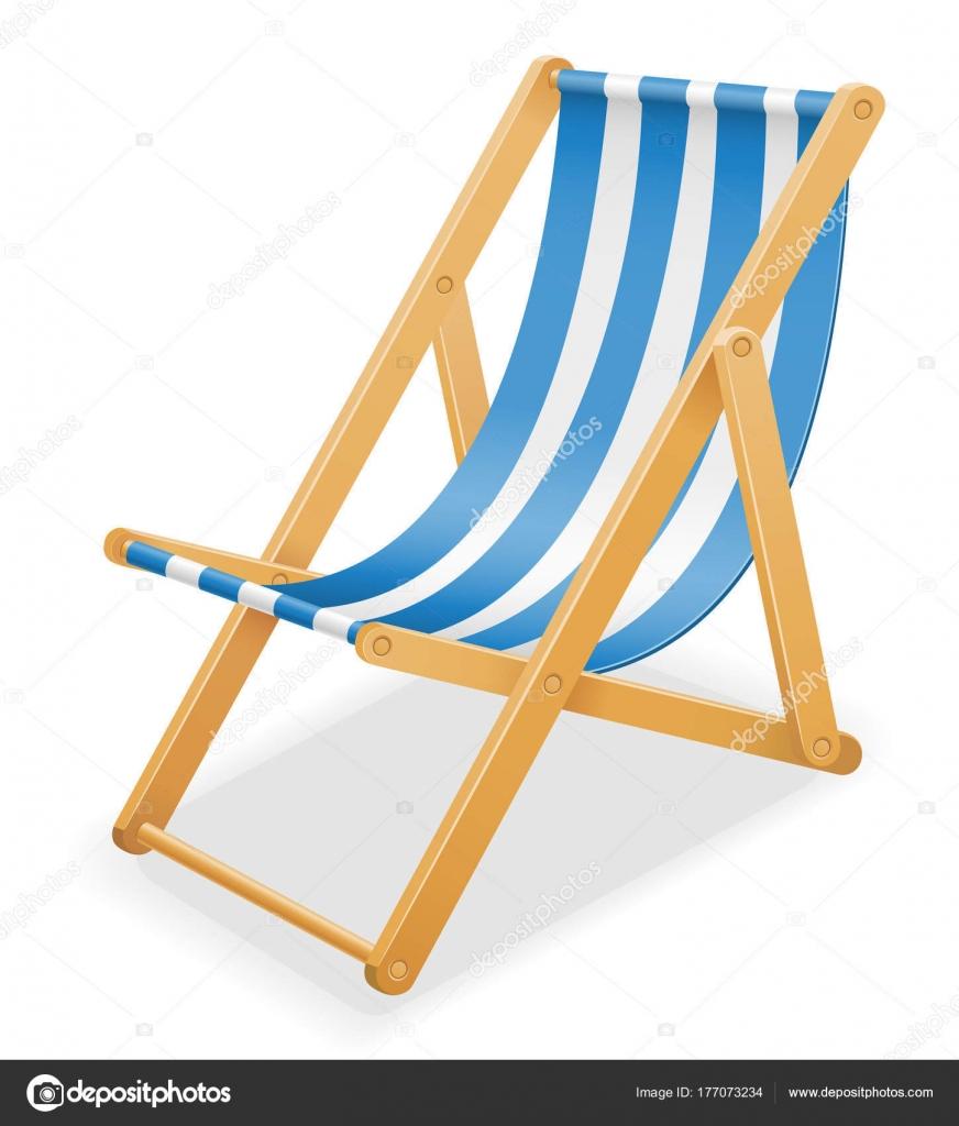 beach liegestuhl gemacht von holz und stoff lager vektor illustrati
