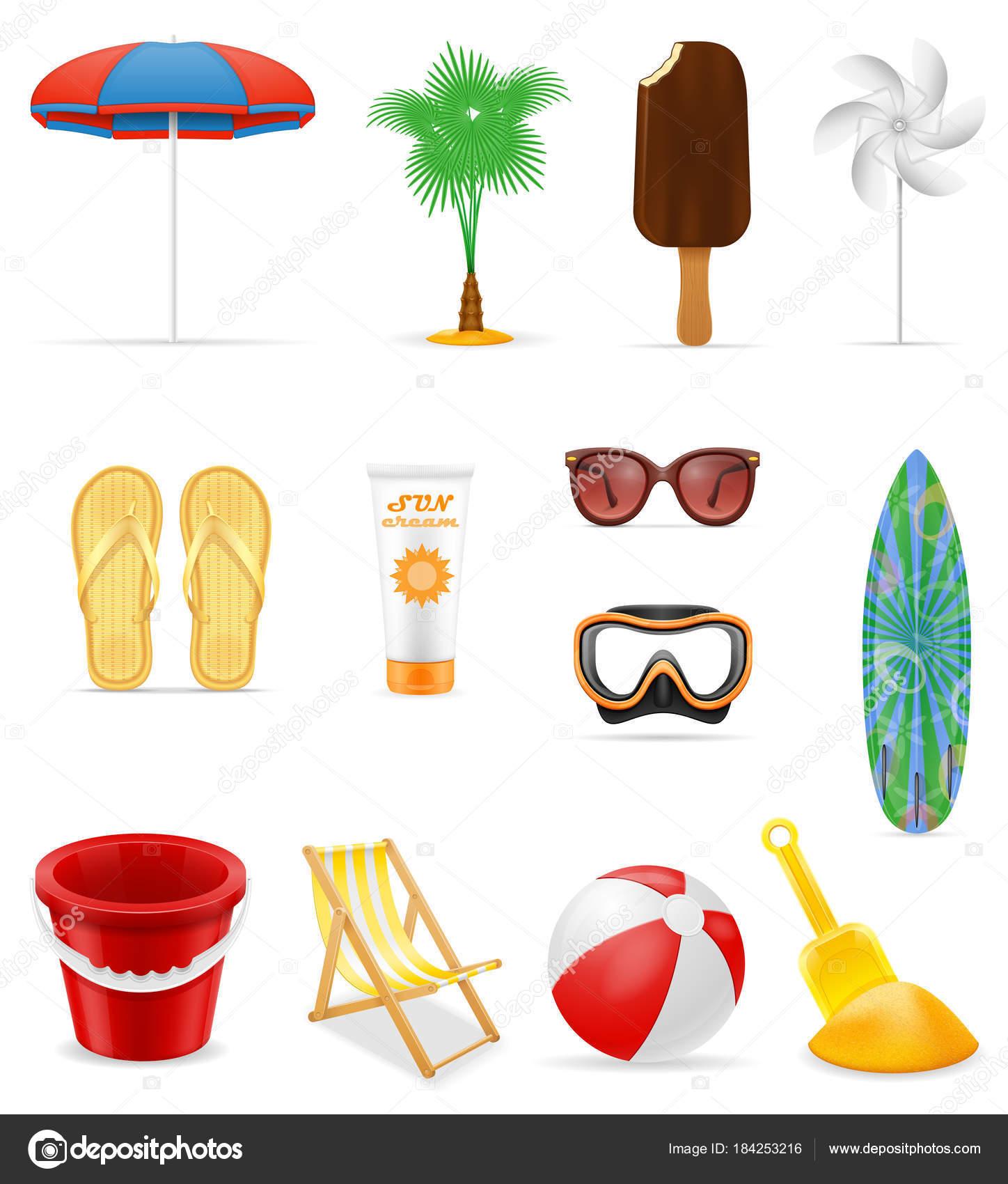 playa ocio objetos stock vector ilustración vector de stock