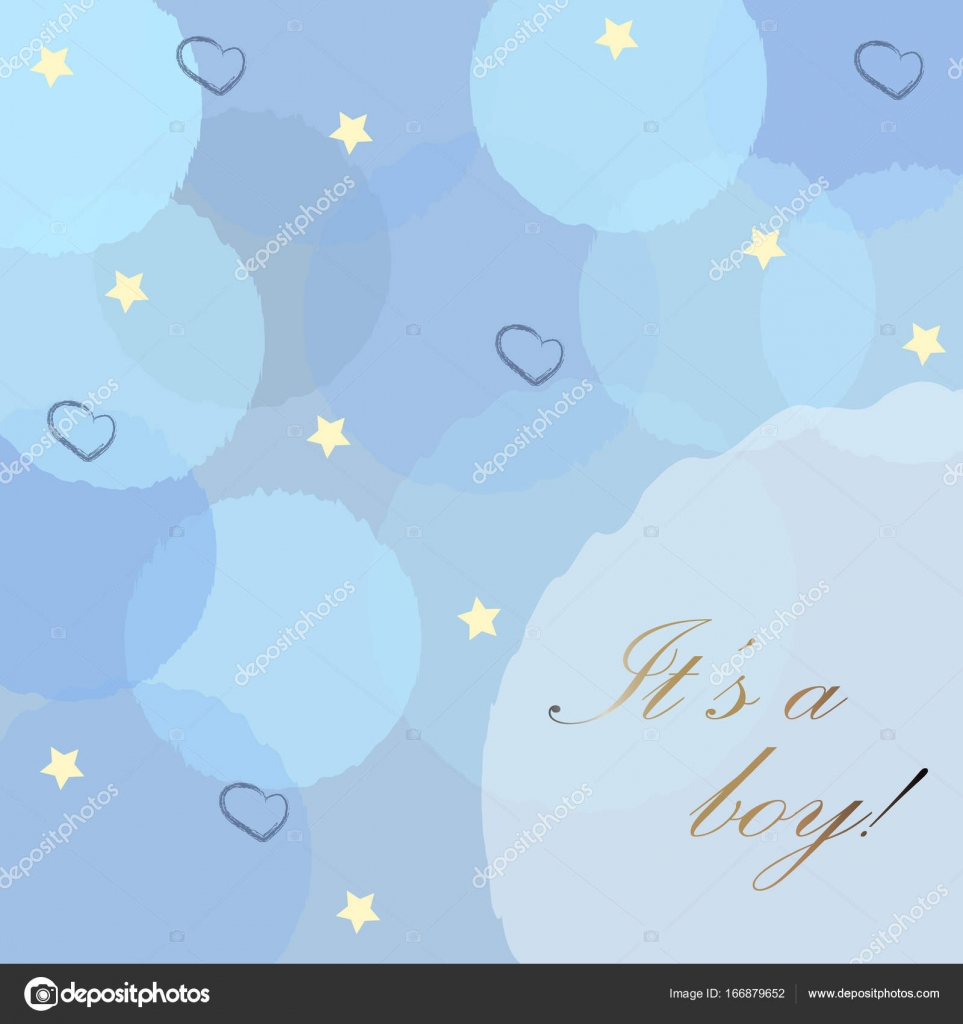 baby boy birth announcement with blue bubbles stars and hearts