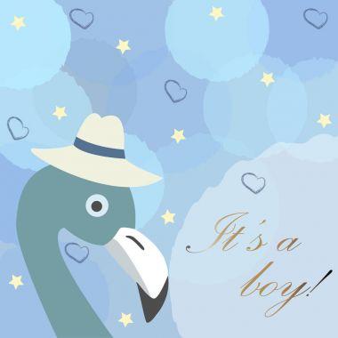 Baby Boy Birth announcement. Cute Bird announces the arrival of