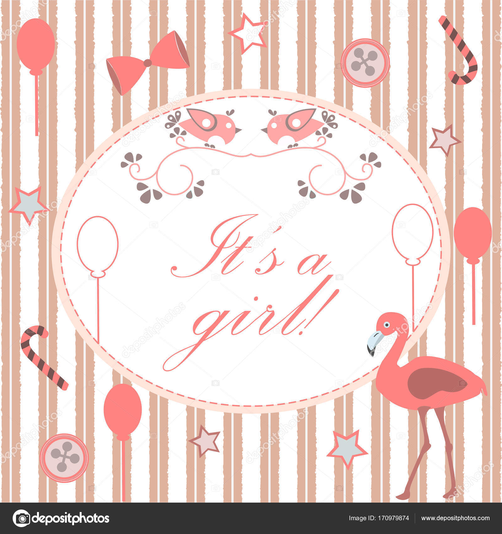 Baby Shower Invitation Card Design with flamingo — Stock Vector ...