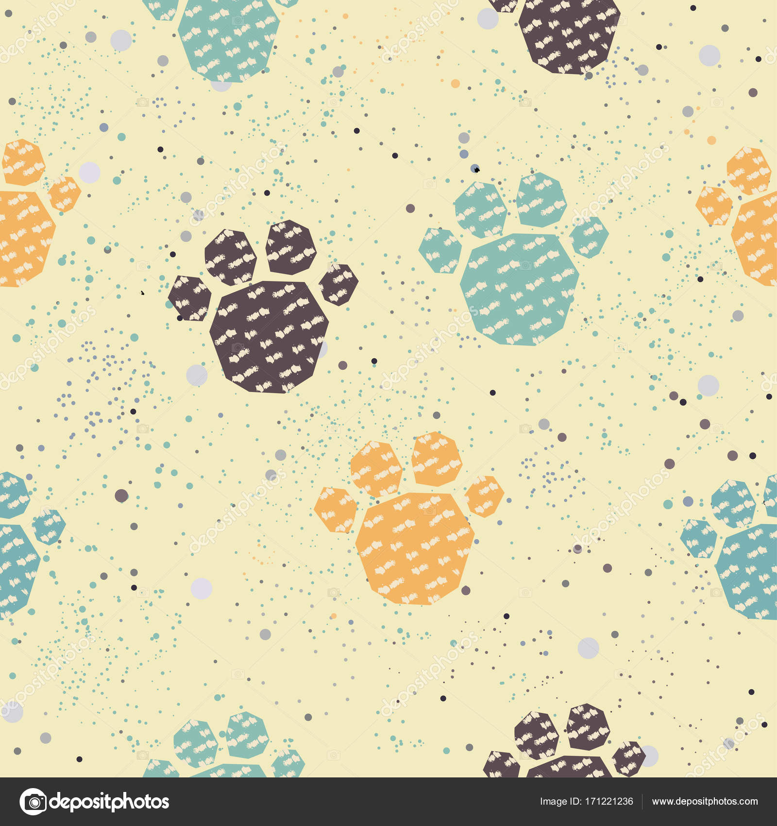 Cute Pattern with colorful dog paws on beige background with tiny ...