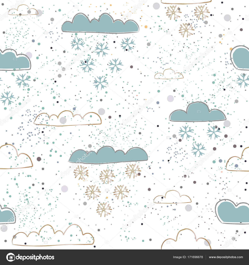 Invierno de patrones sin fisuras con mano dibuja nubes lindas en ba ...