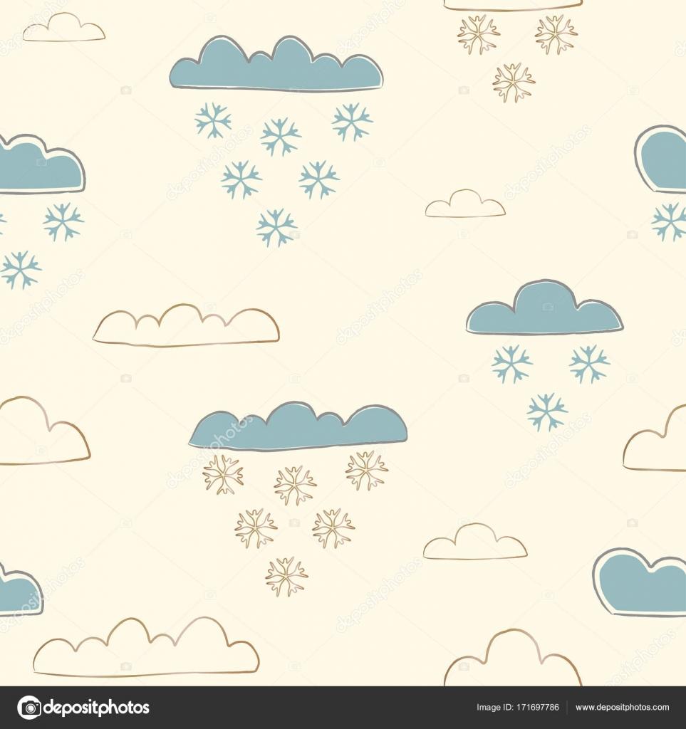 Winter Seamless Pattern Mit Hand Gezeichnet, Süße Wolken Und Fallen U2014  Stockvektor