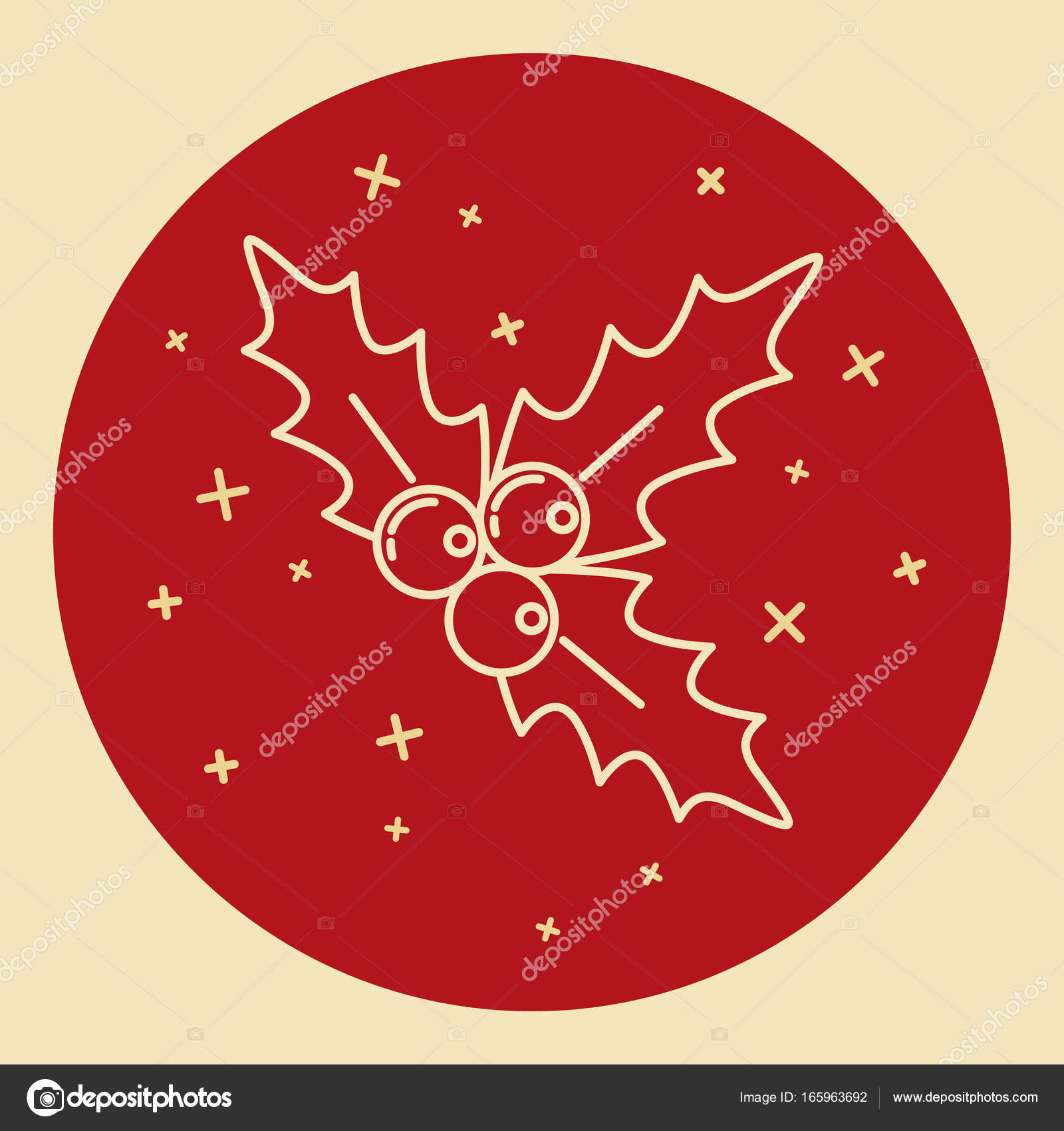 Christmas mistletoe icon in thin line style stock vector christmas mistletoe icon in thin line style traditional holly berry symbol in round frame vector by ekazansk buycottarizona Image collections