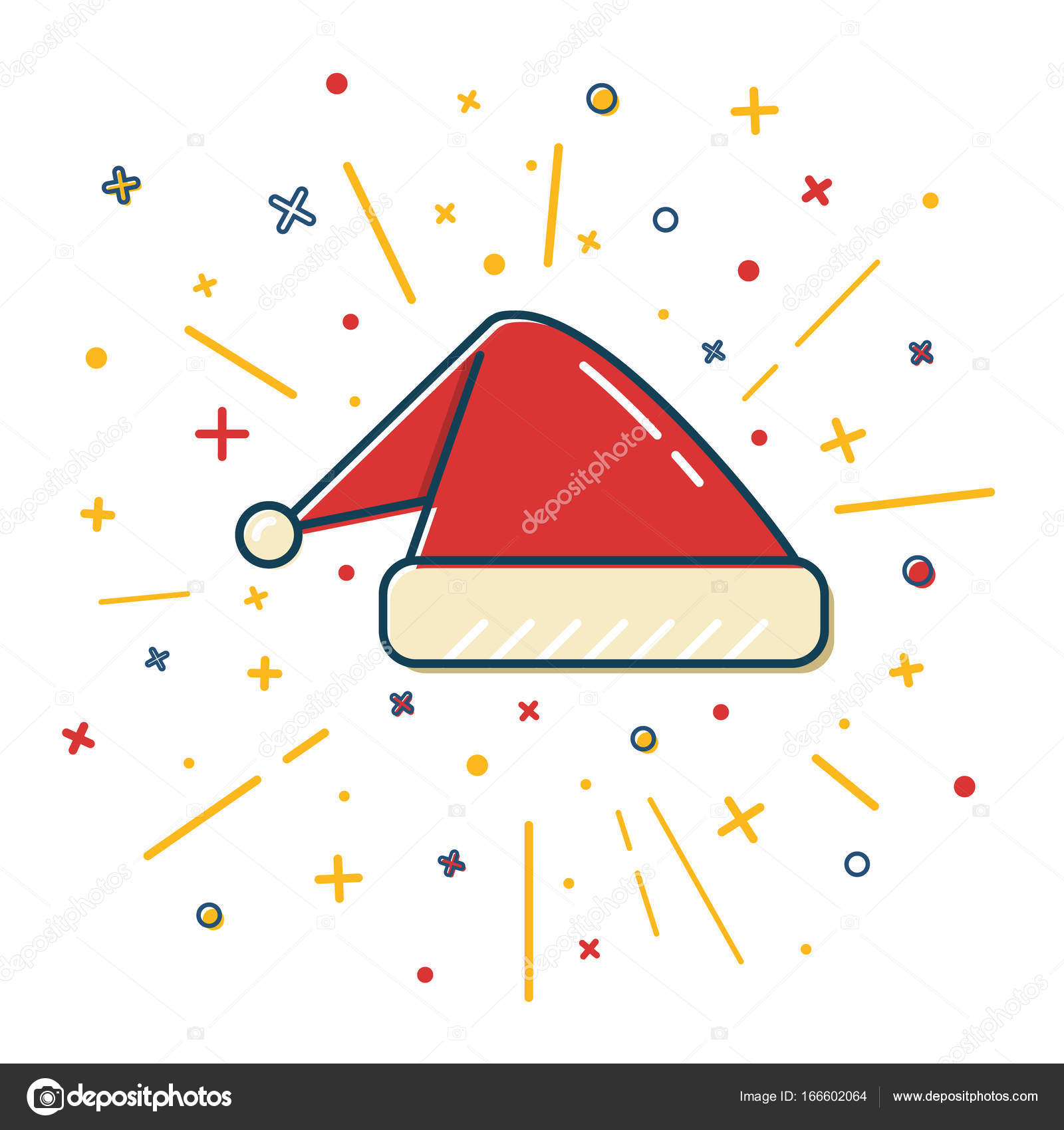 Colored santa hat icon in thin line style stock vector colored santa hat icon in thin line style traditional symbol isolated on white background vector by ekazansk biocorpaavc