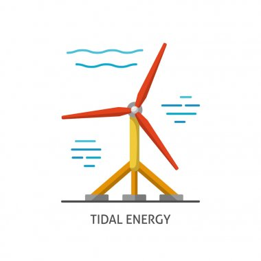 Water turbine icon in flat style.