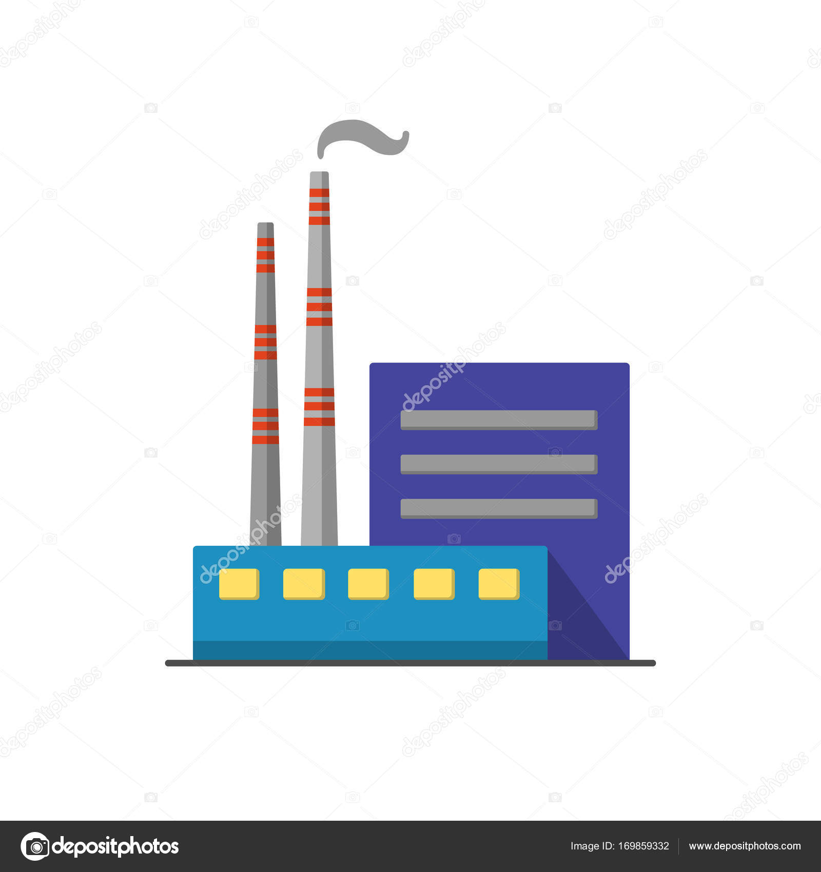 Coal power plant icon in flat style — Stock Vector © ekazansk