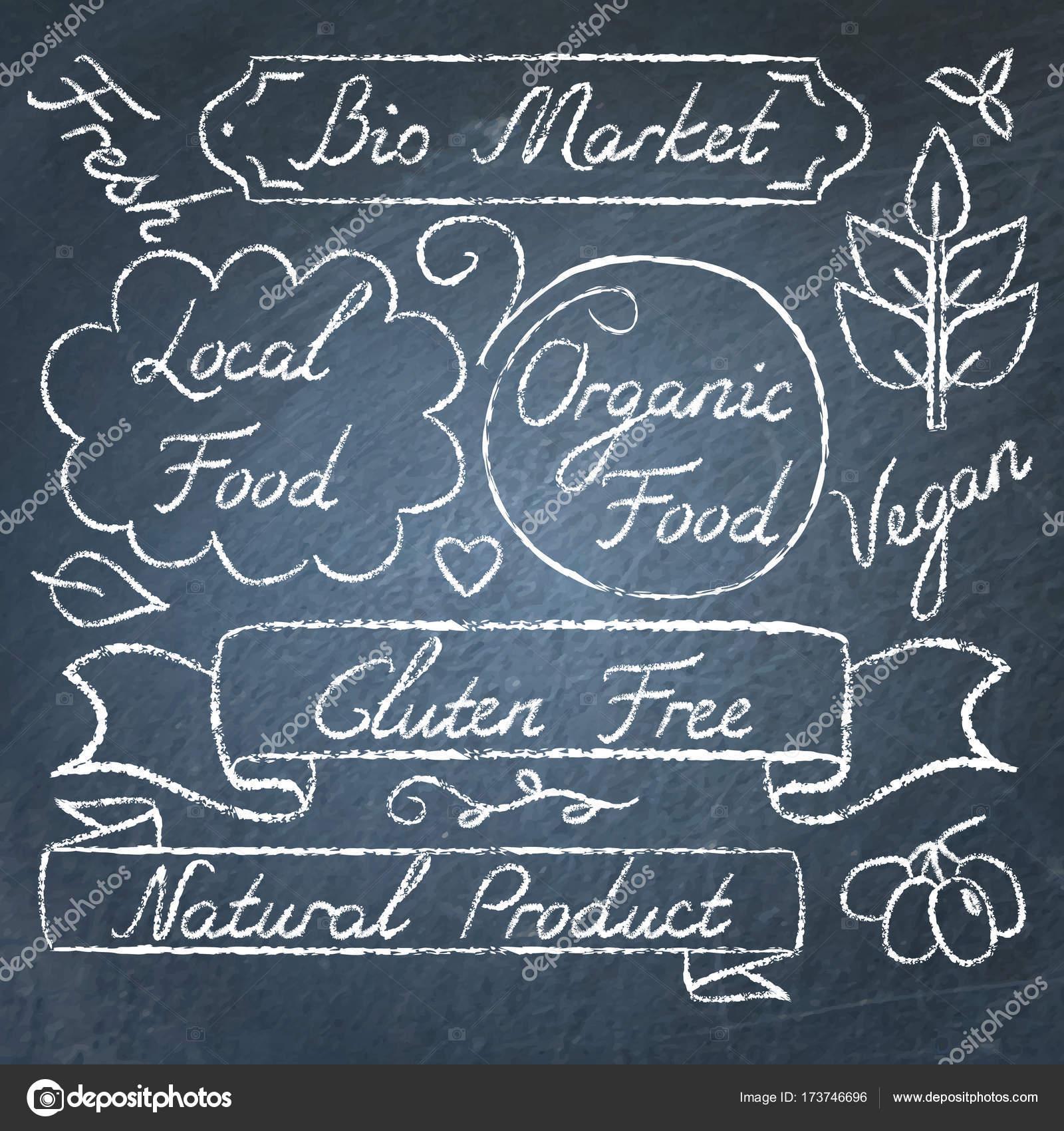 Eingestellt von Öko-Lebensmitteln Schriftzug auf Tafel — Stockvektor ...