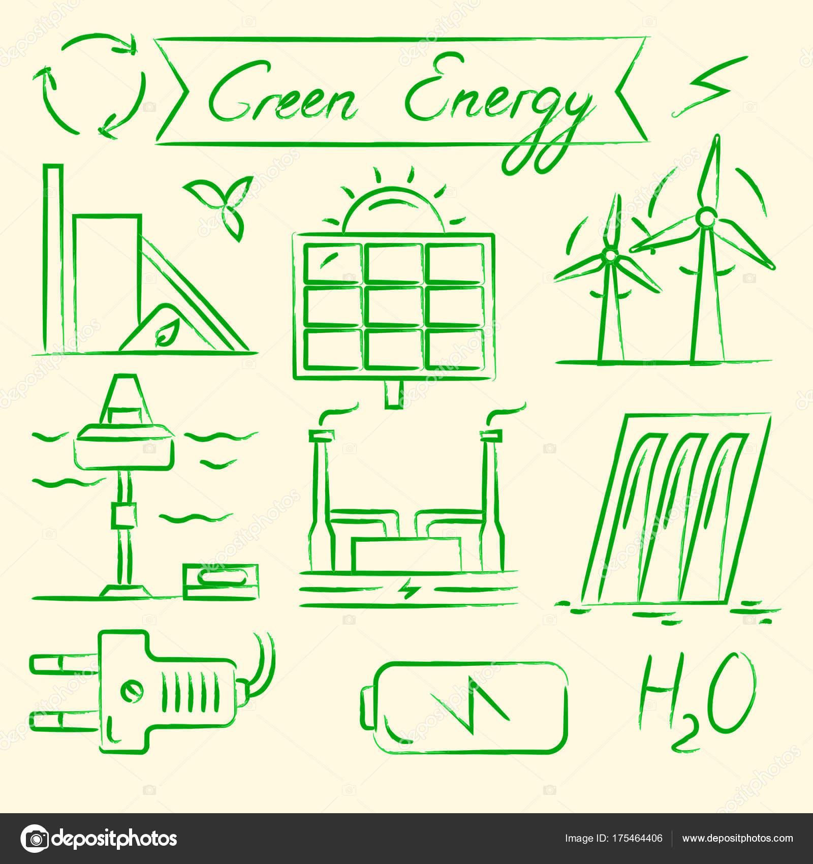Set di icone disegnate a mano di energia rinnovabile vettoriali stock ekazansk 175464406 - Diversi tipi di energia ...