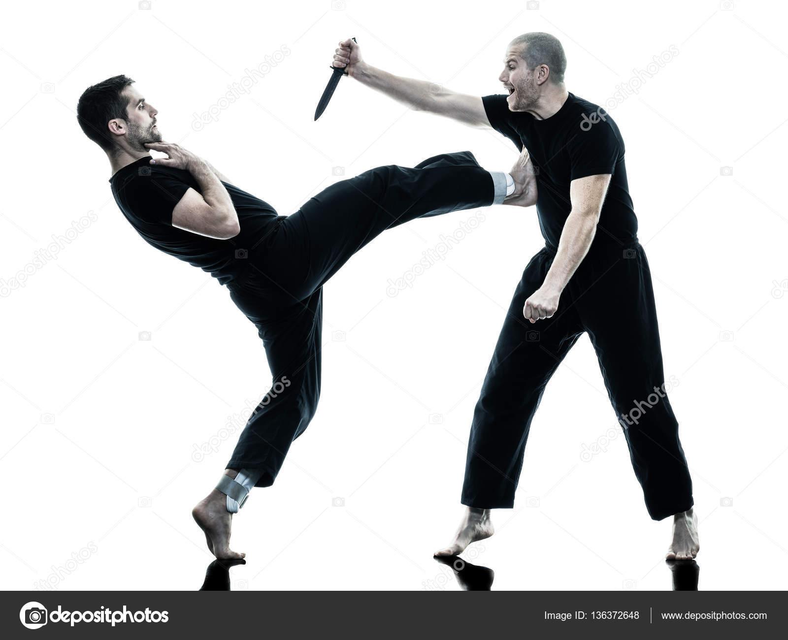 Men krav maga fighters fighting isolated — Stock Photo