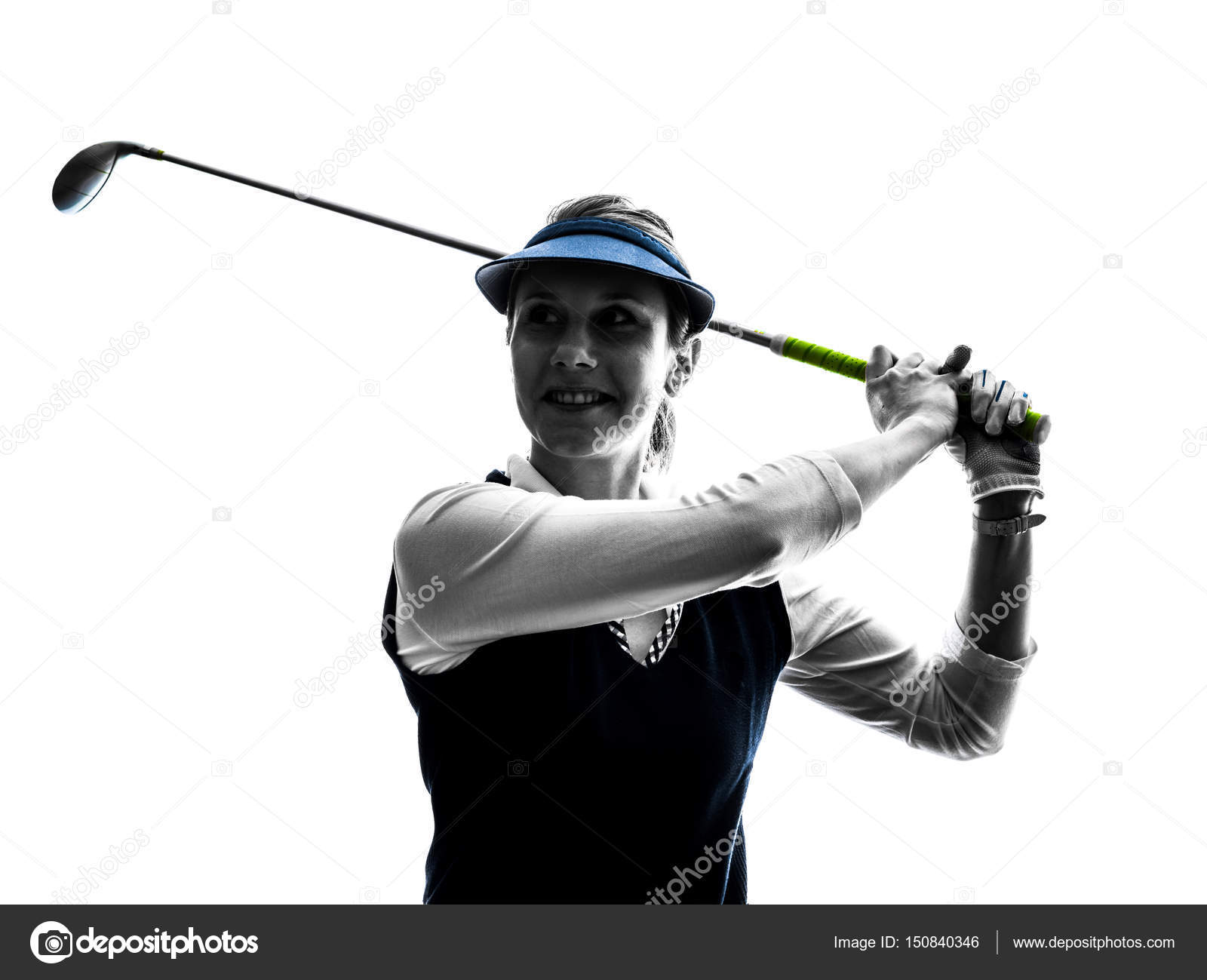 Woman Golfer Golfing Silhouette Stock Photo C Stylepics 150840346