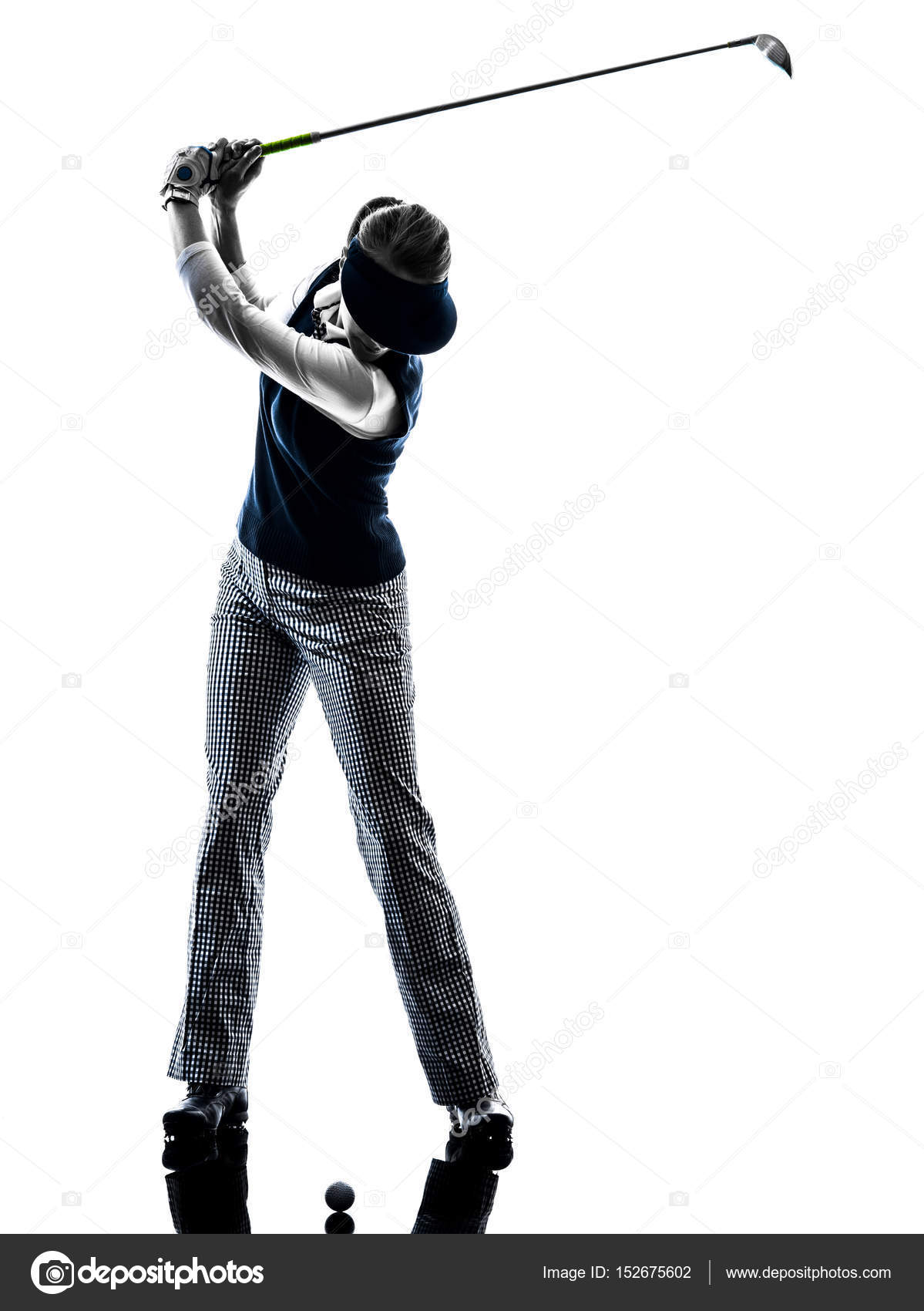 Woman Golfer Golfing Silhouette Stock Photo C Stylepics 152675602