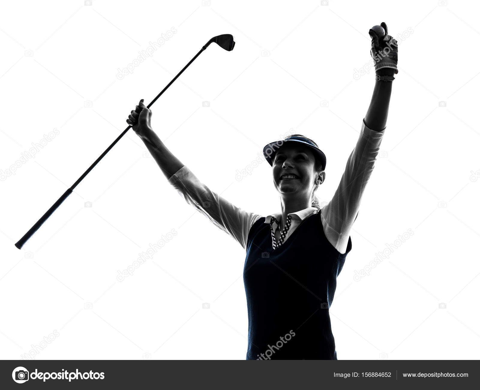 Woman Golfer Golfing Silhouette Stock Photo C Stylepics 156884652