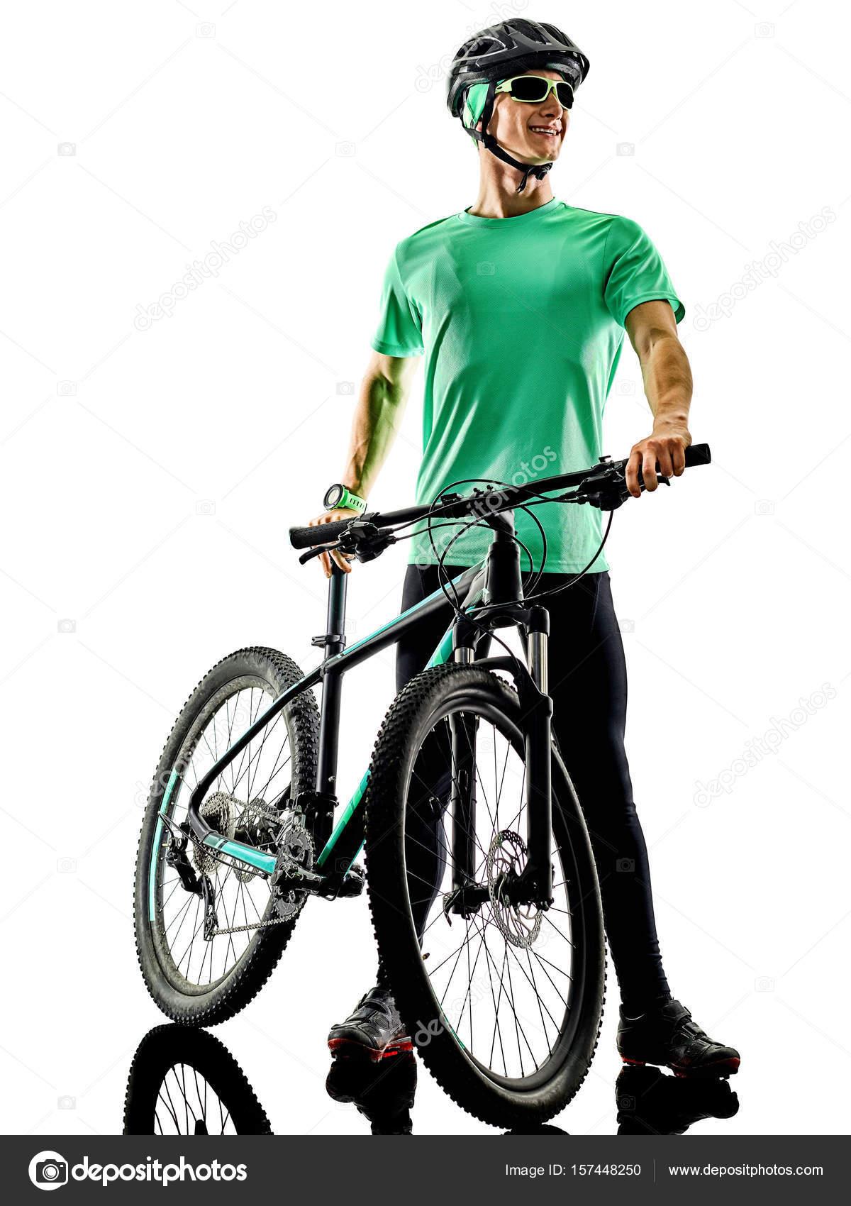 Tenager Boy Mountain Bike Bking isoliert Schatten — Stockfoto ...
