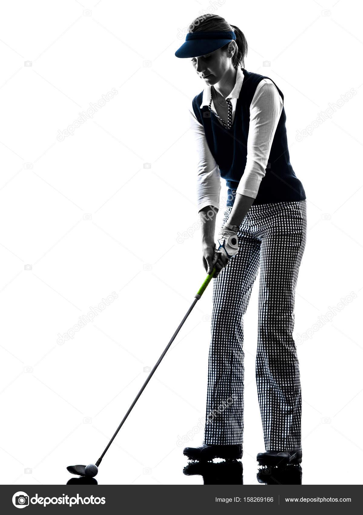 Golf Silhouette Frau Golfspieler Stockfoto C Stylepics 158269166