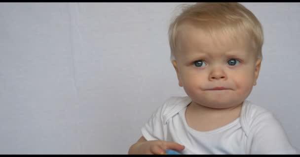 Portrét krásné malé dítě (chlapec), hledí do kamery, blond, světlé vlasy, modré oči, bílé pozadí. Koncepce: děti, veletrh kůže, krásné děti